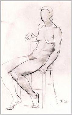 Mario Tozzi: Donna Seduta. Disegno Matita su Carta cm.54x36 - Collezione Privata - Archivio Numero 126.