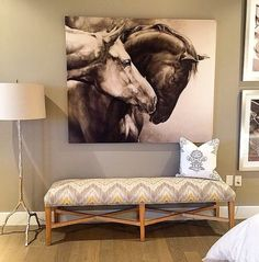 """Do you have a gallery wall in your home with our art? Share it with Thanks for this shot featuring our """"Copper Animal Drawings, Art Drawings, Affordable Modern Furniture, Buddha Painting, Equine Art, Horse Art, Art Studios, Decoration, Canvas Art"""