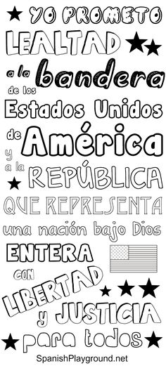 The Pledge of Allegiance in Spanish: Pledge of Allegiance printables, great for speaking Spanish with kids on Independence Day! One version in color and another in black and white for kids to print and color. for kids for kids sheets spanishplayground. Spanish Lessons For Kids, Learning Spanish For Kids, Spanish Activities, Teaching Spanish, Listening Activities, Learning English, Dual Language Classroom, Bilingual Classroom, Bilingual Education