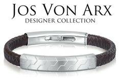 JOS VON ARX - pánsky luxusný náramok - koža + oceľ (nastaviteľná dĺžka) Designer Collection, Belt, Bracelets, Accessories, Jewelry, Fashion, Luxury, Belts, Moda