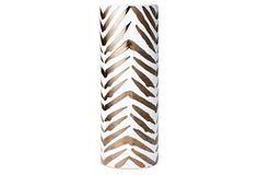 "16"" Ceramic Umbrella Stand, White/Bronze"