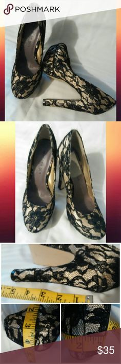 Madden Girl Stunning Platform Pump's sz.6.5 ~LN This sexy pair of platforms are black lace over beige satin. Very stable shoe  Platform goes from 1.5 inches at foot bed to 1 inch at front. Heel is 5 inches,but made very sturdy for support. See pics. Wore once for a couple hours,too high for me. Look like new! Inside name on sole peeled off on one shoe when I removed price sticker. These were 129$ new. Fast Ship! Steve Madden Shoes Platforms