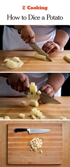 To dice a potato, start with a clean, peeled tuber. Using your chef's knife, trim the rounded edges off the potato, leaving a six-sided rectangle. (Photos: Karsten Moran for The New York Times)