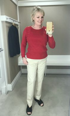 1cef04ffad Jennifer of A Well Styled Life wearing red sweater and beige chino s from  Talbots By A