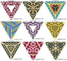 Peyote triangle patterns - originally from http://www.anabel-beadpatterns.com