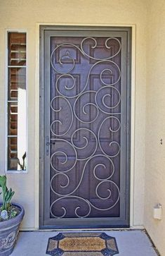 "a bit like mine . ""Getting this door installed, with a screen it will give me great ventilation and I won't have to shove my foot in the bottom of the door when I open it to keep the dogs inside"". Door Installation, Iron Entry Doors, Security Door, Window Bars, Security Storm Doors, Door Gate Design, House Doors, Wood Gate, Steel Doors"