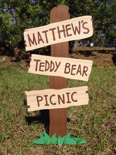 Teddy Bear Picnic Sign  Customizable Faux Wooden by CSCuteCrafts, $25.00