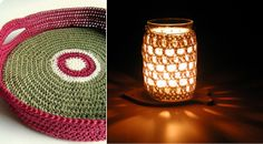 what a pretty light the crochet wrap casts from the candle.  would be pretty on the porch.