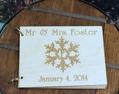 Wedding Guest Book, Rustic and Wooden, Snowflake Wedding Date Mr & Mrs