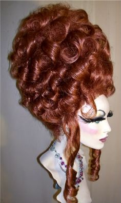 Drag Queen Wig Big Auburn Red Updo French Twist Curls - Vegas Beauty Designs - March 17 2019 at Medieval Hairstyles, Easy Updo Hairstyles, Elegant Hairstyles, Hairdos, Summer Hairstyles, Hairstyle Ideas, Short Hairstyles, French Twist Hair