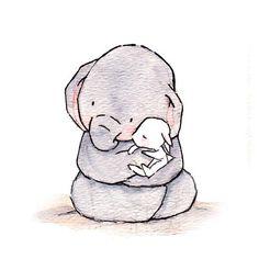 Elephant cuddling bunny
