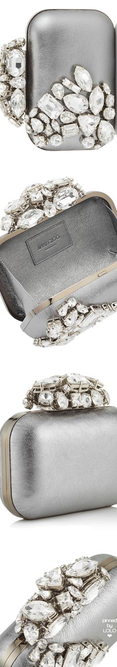 Jimmy Choo Steel Cloud Metallic Nappa Leather Clutch Bag with Crystals Silver Gown, Louis Vuitton Shoes, Leather Clutch Bags, Grey Fashion, Jimmy Choo, Fashion Accessories, Wedding Rings, Purses, Color Shades