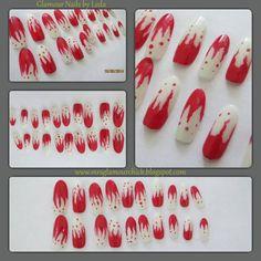 20 cuspidal nail tips nail art Vampire Fangs Bloody Red ABS Plastic #handpainted