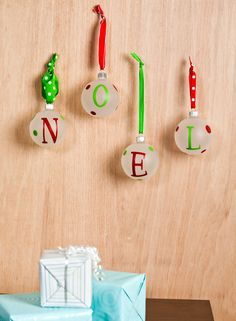 These fun Noel Ornaments were made with the Classic Font cartridge! #cricut
