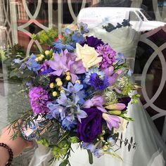One of today's bridal bouquets!! Such cool tones for a warm day. #mmflowers - - - - - #floral #flower #florist #flowers #flowergram #mondaymorningflowers #flowershop #nj #smile #love #colorful #Princeton #princetagram #wedding #bridal #bouquet