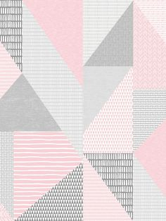 This Larsson Geo Wallpaper is part of the Catherine Lansfield Collection and will make a unique addition to any room of your home with its retro style. The design features triangles filled with various dainty patterns made using a painterly effect including stripes, triangles, circles, obscure rectangles and arrows in tones of pink, grey and white, set on a high quality thick wallpaper with a subtle fabric effect finish. Easy to apply by pasting the wall, this wallpaper has a soft matte… Thick Wallpaper, Geometric Wallpaper, Pastel Colors, Bold Colors, Drops Patterns, Pattern Matching, High Quality Wallpapers, Geometric Designs, Main Colors