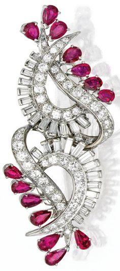 Pair of Palladium, Ruby and Diamond Brooches by Tiffany & Co. Circa 1940
