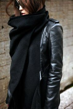 All Black Leather Jacket And Scarf Via StyleTrove