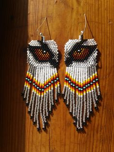 Beaded Native American Earring Patterns | Native American Beaded Wolf Eye Earrings With Sterling Silver Earwires
