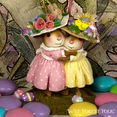Mousey's Easter Bonnets | Mouse miniature by Wee Forest Folk ®
