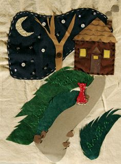 """#modcloth, #skau    I loved """"The Visit"""" because its mix of crafty, homey textures with such a mysterious and eery scene, whose focus is really just a tiny, audacious red figure.  I really wanted to design an outfit for this mysterious girl who walks the woods at night!"""