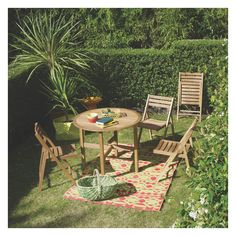 Crafted from solid oak, the Zeno seat round folding garden table is a timeless design that's perfect for small spaces. Buy now at Habitat UK. Folding Garden Chairs, Round Folding Table, Garden Table And Chairs, Patio Furniture Cushions, Dining Furniture, Outdoor Furniture Sets, Outdoor Decor, Small Garden Inspiration, Garden Ideas