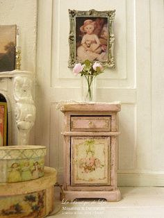 "Gustavian Shabby PINK bedside, ""Marie-Antoinette"", Furniture for a French dollhouse in 1:12th scale"