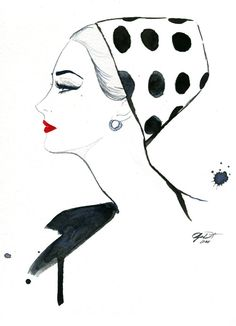 Watercolor Fashion Illustration  Polka Dot by JessicaIllustration, $30.00