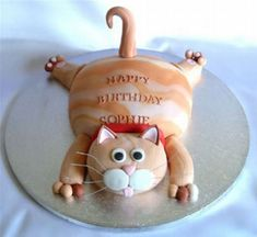 Cakes How much would Sophie love a cat cake? on etsy LingrenHow much would Sophie love a cat cake? Birthday Cake For Cat, Funny Birthday Cakes, Funny Cake, Happy Birthday, Homemade Birthday, Kitty Party, Fondant Cakes, Cupcake Cakes, Animal Cakes