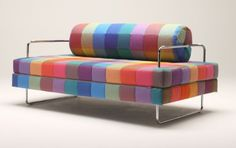 It's glowing with all the colors of the rainbow. Minimalist stylish look of steel legs is compensated by this bright palette.
