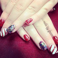 Day 337: Snowflakes & Candy Canes Nail Art - - NAILS Magazine