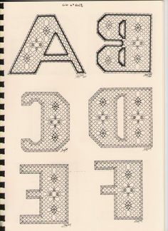 Alphabet A à F Torchon Bobbin Lacemaking, Bobbin Lace Patterns, Lace Heart, Lace Jewelry, Lace Making, Lace Detail, Crochet, Letters, Handmade
