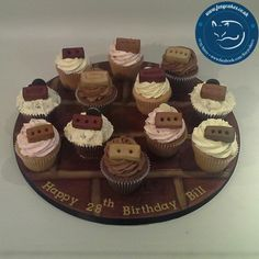 Brick cupcake board, made by The Foxy Cake Company!