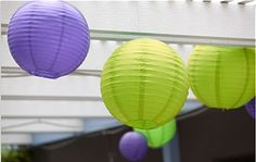 Green and Purple Paper Lanterns are perfect decorations for a Wimbledon party.