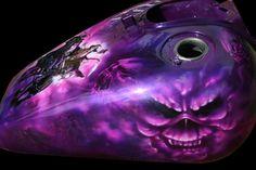 Art by Vision, artwork on steel bikes gallery Custom Motorcycle Paint Jobs, Custom Paint Jobs, Skull Painting, Air Brush Painting, Paint Bike, Harley Davidson Wallpaper, Custom Tanks, Motorcycle Tank, Airbrush Art