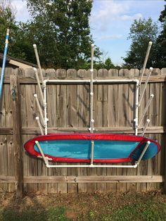 DIY PVC pool side storage for pool floats and toys. DIY PVC pool side storage for pool floats and toys. Pool Float Storage, Pool Toy Storage, Storage Caddy, Kayak Storage, Smart Storage, Outdoor Storage, Pvc Pool, Pool Schwimmt, Pool Organization