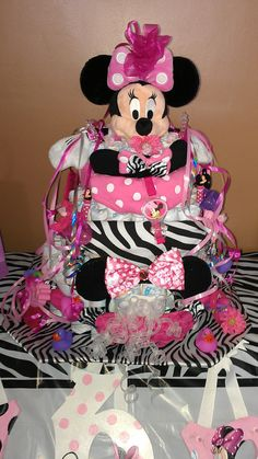 Items similar to Diaper cake on Etsy Girl Things, Girl Stuff, Baby Things, Baby Cakes, Baby Shower Cakes, Baby Shower Presents, Baby Shower Gifts, Mini Mouse Baby Shower, Diaper Cupcakes