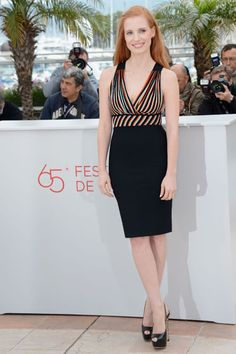 Jessica Chastain in Herve L. Leroux - Red Carpet Dresses at Cannes 2012 - Harper's BAZAAR