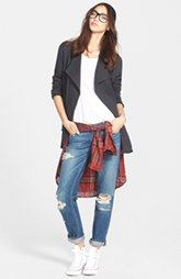 Stem Drape Collar Jacket, Tunic Top & Paige Denim Skinny Boyfriend Jeans