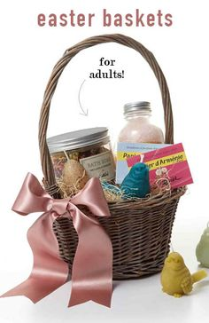 8 Luxurious Easter Basket Ideas for Adults | Martha Stewart Living - Long gone are your days of Easter egg hunting and stuffed rabbit snuggling. But who's to say that adults can't wake up on Sunday morning to their own Easter baskets filled with goodies?