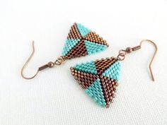 Peyote Triangle Earrings Beadwork Brown by MadeByKatarina on Etsy