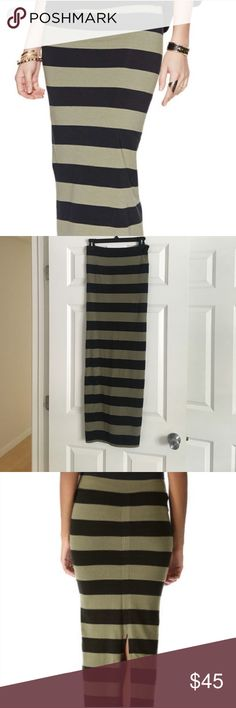 Free People Striped Maxi Skirt Free People striped maxi skirt in army green and black. Back slit, 95% cotton, 5% spandex. In great condition! Free People Skirts Maxi