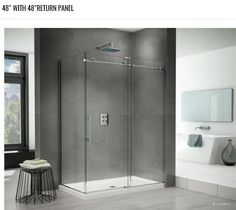Fleurco Kinetik In-Line 72 Shower Door and Fixed Panel with Return Panel (Closes against Return Panel) Master Shower, Glass Shower Doors, Shower Enclosure, Bathroom Faucets, Bathtub, K2, House, Furniture, Black Trim