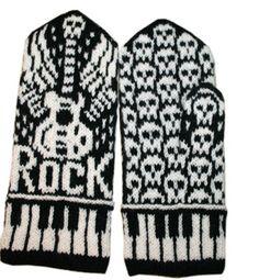 Ravelry: Let's Rock mittens pattern by Jorid Linvik for Kara Knitted Mittens Pattern, Knit Mittens, Knitted Gloves, Fair Isle Knitting, Knitting Yarn, Hand Knitting, Knitting Charts, Knitting Patterns Free, Crochet Patterns