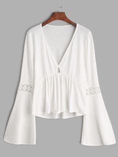 Camiseta con cuello en V de manga acampanada de croché con péplum - blanco-Spanish SheIn(Sheinside)