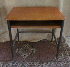 Vintage School Desk mid century wood metal Haywood Wakefield industrial table #DanishModern