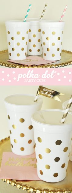 Polka Dot Cups are perfect for a girls pink and gold 1st Birthday Party - toddlers kids will love these re-usable plastic cups with lids printed with gold polka dots.
