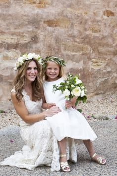 Glowing bride and the adorable flower girl: http://www.stylemepretty.com/california-weddings/monterey/2014/10/17/classic-black-tie-wedding-at-club-del-monte/ | Photography: Colleen Riley Photography - http://www.colleenrileyphotography.com/