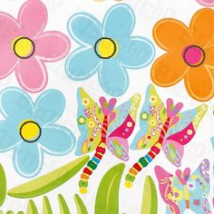 summer butterfly and flowers decals