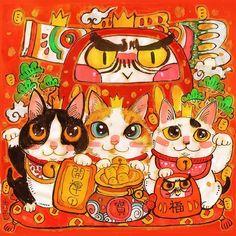 Neko Cat, Maneki Neko, New Year Illustration, Japanese Cat, Chinese Art, Cat Art, Cute Drawings, Cute Animals, Kawaii